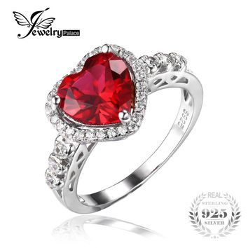 JewelryPalace Heart Of Ocean 2.7ct Created Red Ruby Love Forever Halo Promise Ring 925 Sterling Silver Wedding Ring Fine Brand