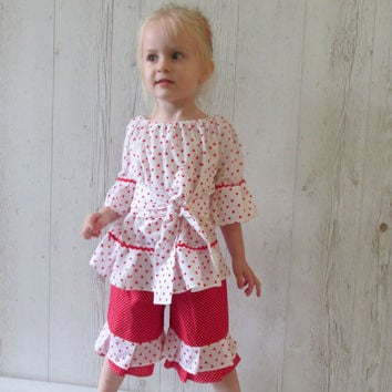 Girl Outfit Set , Girl Clothing, Red White Peasant Top, Ruffle Pant , ruffle capris, toddler capri set, infant peasant blouse, party outfit
