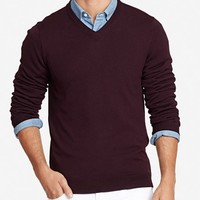 Yorkshire Merino Slim - V-Neck - Burgundy