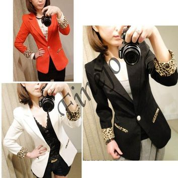 Candy Color Casual Blazer Suits Leopard Turn Back Cuff Lapel Blazer Jacket 7071