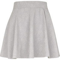 Light grey jacquard skater skirt - skater skirts - skirts - women