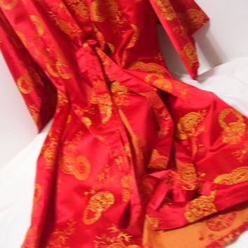 Genuine, Korean Hanbok, Oriental Kimono, Red and Gold, Brocade, Asian, Traditional Long Robe, Size Large