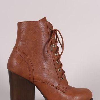 ONETOW Bamboo Chunky Heeled Combat Lace-Up Ankle Boots