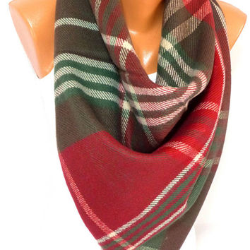 Blanket Scarf Plaid, Wool blanket Shawl, Christmas Scarf, Winter Scarf, Winter fashion Accessories, Gift for Christmas, for Mothers day