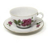 Pink Rose Tea Cup and Saucer Set by Japanese Nippon Yoko Boeki Co. Hand Painted Porcelain Gold Trimmed