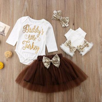 Thanksgiving  clothes Kids Baby Girls clothes cotton Long Sleeve Tops+Skirts +Headbands 4PCS Outfits clothes set