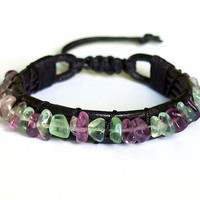 Leather and Fluorite Bracelet, Original Handmade Jewelry, Purple and Green Stone, Unique Adjustable Unisex Bracelet