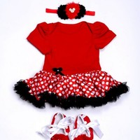Red Christmas Dress with Black Net Frills for Infant Girls with Headband and Shoes