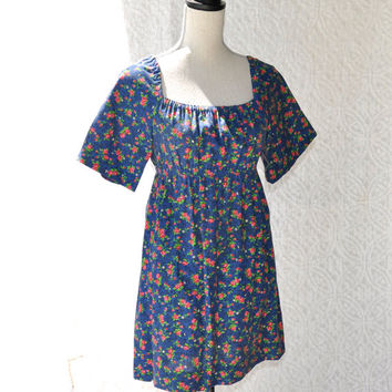 70s Handmade Mod Mini Dress/ Hippie Scooter Boho Dress. Pin Up Rockabilly Mini Summer Dress. Floral GoGo Dress or Folk Tunic w. Empire Waist
