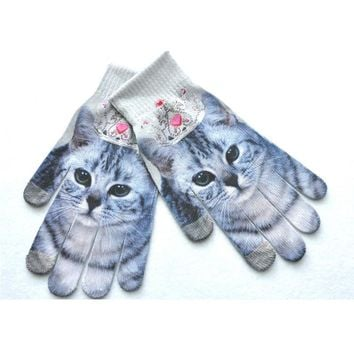 3D Animal Print Winter Warm Touch Screen Wrist Gloves Women Mittens Female Full Finger Xmas Gloves Mitten Gift Accessories