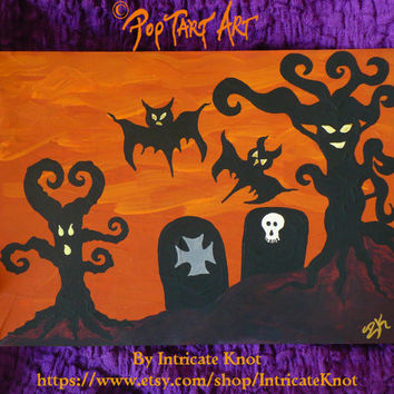 Folk Art / Primitive / Recycled / Cardboard Art - Original Painting - Classic Halloween - Graveyard  - Haunted Trees - IntricateKnot