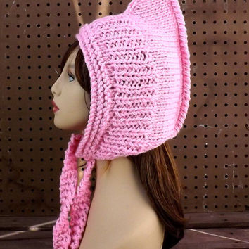 Pink Knitted Hat Womens Hat, Knit Pink Hat, Ear Flap Hat African Hat, Warrior Hat, Warriors Hat, WARRIOR PRINCESS