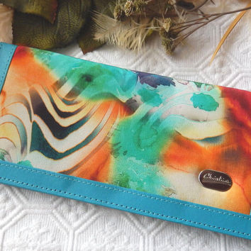 Christina Teal Leather Multi Colored Silk Unique Wallet w/Checkbook