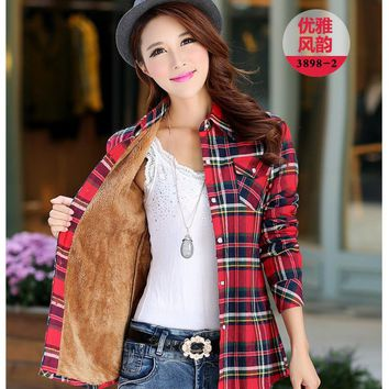 2017 Fashion Casual Women Winter Plaid Shirt Flannel Shirt Long Sleeve Warm Wool Women Blouses Shirt Cotton Blusas Tops Blouse