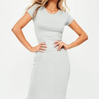 Missguided - Grey Short Sleeve Midi Dress