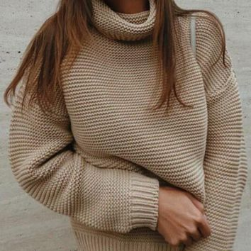 New Khaki Patchwork High Neck Casual Pullover Sweater