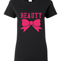 Beauty Shirt Bow Tshirt Beautful Gift Unisex Ladies And Junior Fits All Colors