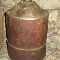 Antique  rustic   Gas station Metal Gas  or Kerosene   Can with Wood Case