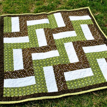 Baby girl quilt, toddler quilt, green and brown quilt, polka-dot quilt