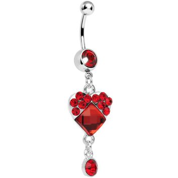 Red Gem Square In Heart Dangle Belly Ring