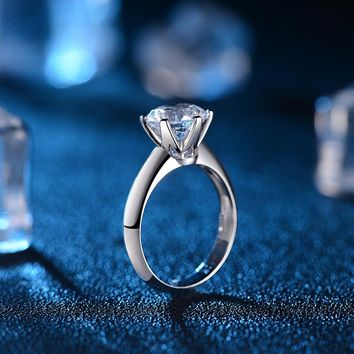 6-Claw Classical 1.0ct Solitaire Engagement Ring Wedding Band for Women 18K White Gold Handmade GIA Diamond Jewelry