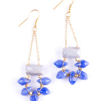 Drop Gem Earrings Blue