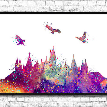 Hogwarts Castle From Harry Potter Watercolor Art Print Archival Fine Art Print Home Decor Children's Wall Art Wall Hanging Birthday Gift