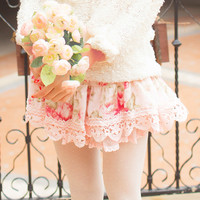 Sweet Floral Print Puffy Short