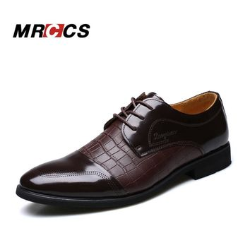 MRCCS Crocodile Pattern Leather Men's Wedding Shoes,For Business Dress Formal Wear,Luxury Style Male Brand Shoes Spring/Winter