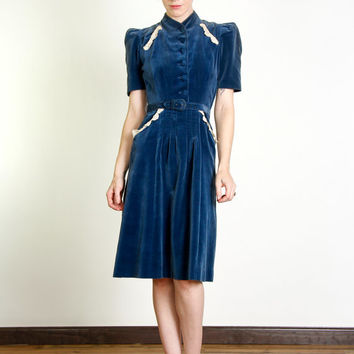 Blue Velveteen Dress with Lace Trim