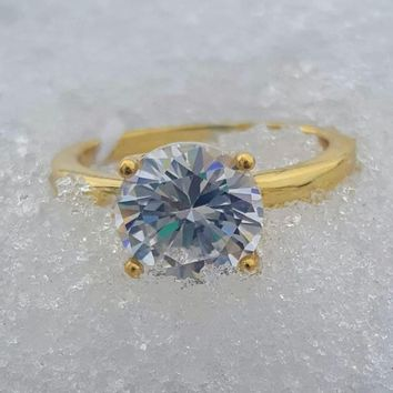 Yellow Gold Solitaire Ring Ladies Size 5-10 .925 Sterling Silver 2 ct