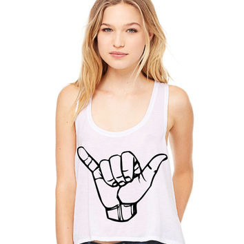 White Cropped Tank Top - Hang Loose Shaka Symbol Funny Summer Outfit Beach Tank