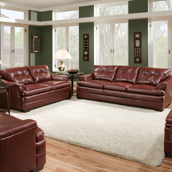 Simmons 5120 Geronimo Crimson Sofa and Loveseat