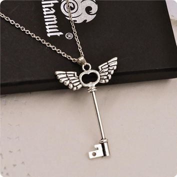 2016 new arrival women necklace girl Angel wings Key Friendship Pendant Long Chain Silver Necklace Jewelry vintage chain kolye