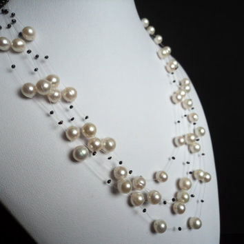 White/Black Elegant Floating Pearl Necklace by Lunarpearl on Etsy