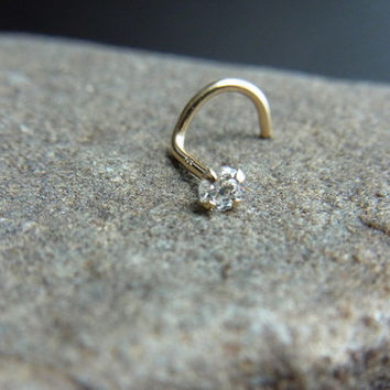 14k solid gold with 2.5mm CZ diamond claw setting nose screw