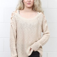 Strappy Shoulders Slouchy Knit Sweater {Oatmeal}