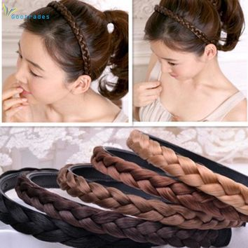 1PC Headband For Women Wedding Hair Bands Hairband Plaited Braided Hair Accessories 2017 Twisted Wig Braid Hairband Colorful