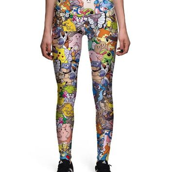 Cute Pokemon Pikachu Printed Womens Stretchy Workout Leggings