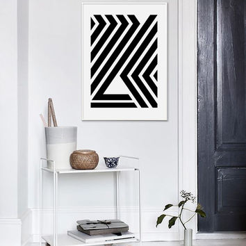 Black Stripes Print, Geometric Print, Mid Century, Printable Art, Black And White, Geometric Poster, Scandinavian, Affiche Geometrique