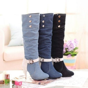 Fashion Women's Demin Knee High Boots Autumn Winter Stiletto High Heeled Cowboy Tall Boots Shoes = 1946269188