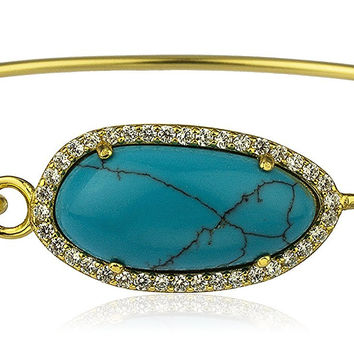 Sterling Silver Oval Shaped Turqoise with Cz Stones Bangle Bracelet