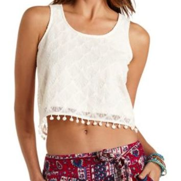 Ivory Pom-Pom Trim Embroidered Mesh Tank Top by Charlotte Russe