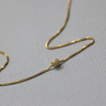 Gold Dot Necklace,Gold Stardust Necklace, Gold Stardust Ball Bead on 14K Gold Filled Necklace Chain