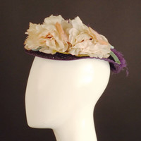 1940s Purple Floral Straw Topper