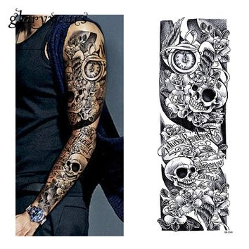 glaryyears 3 Sheets Full Arm Tattoo Sticker Skull Clock Design Water Transfer Body Art Temporary Big Fake Tattoo Sticker QB-3040