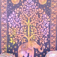 Hand printed Elephant Tree Tapestries Wall Hanging or Bedsheet Orange & Pinks