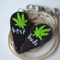 Dark Vader Best Buds Split Heart Weed Leaf Necklace Set