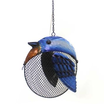 Home & Garden BLUE JAY FAT BIRD SEED FEEDER Metal Outdoor Decor 11917