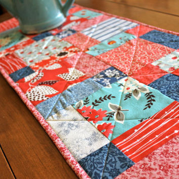 Table Runner, Quilted, Patriotic, Summer, Red, White, Blue, and Aqua